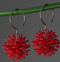red sphere earring